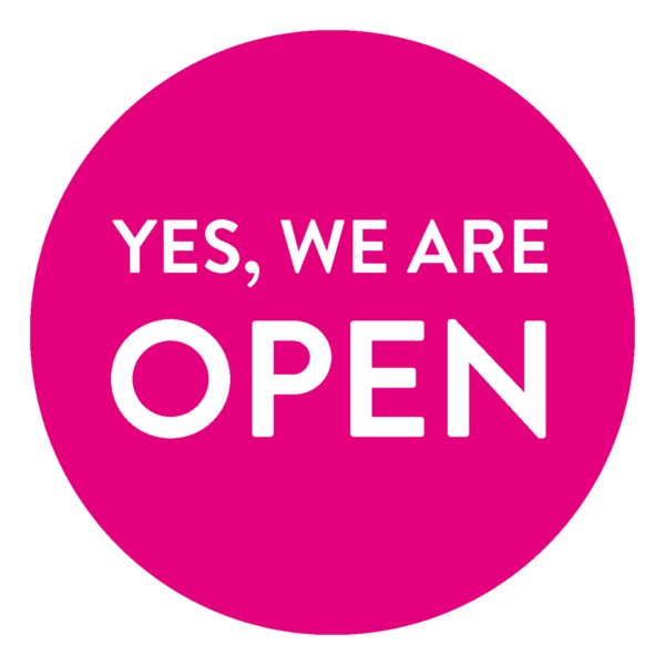 Schaufensteraufkleber EN - YES! We are open - (round) Style: Modern - magenta