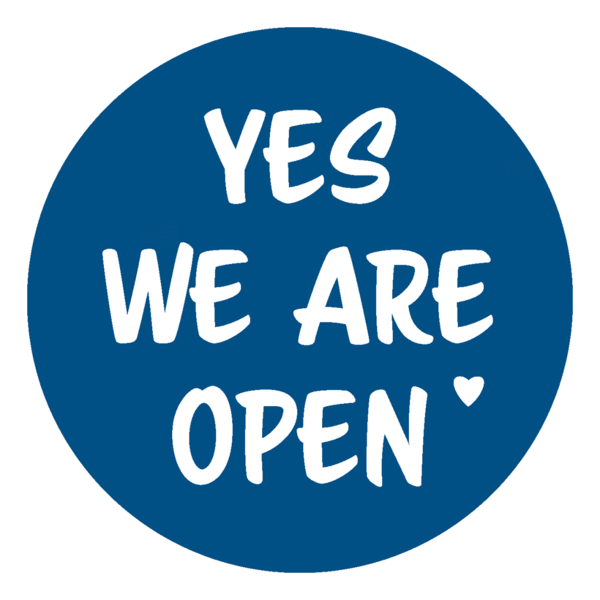 "Schaufensteraufkleber EN - YES! We are open ""LOVE"" - (round) Style: Script - dunkelblau"