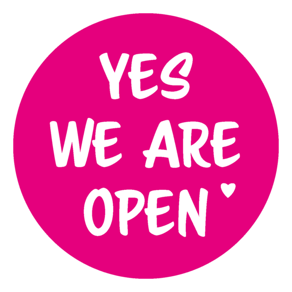 "Schaufensteraufkleber EN - YES! We are open ""LOVE"" - (round) Style: Script - magenta"