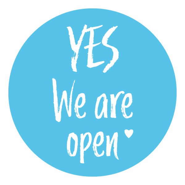 "Schaufensteraufkleber EN - YES! We are open ""LOVE"" - (round) Style: Brushy - hellblau"