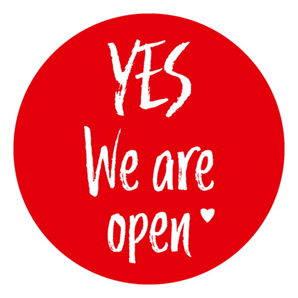 "Schaufensteraufkleber EN - YES! We are open ""LOVE"" - (round) Style: Brushy - rot"