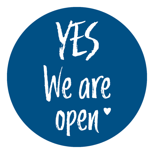"Schaufensteraufkleber EN - YES! We are open ""LOVE"" - (round) Style: Brushy - dunkelblau"
