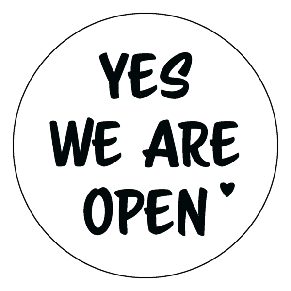 "Schaufensteraufkleber EN - YES! We are open ""LOVE"" - (round) Style: Script - weiss"